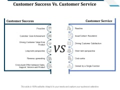 Customer Success Vs Customer Service Ppt PowerPoint Presentation Summary Objects