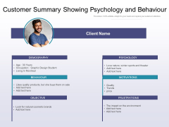 Customer Summary Showing Psychology And Behaviour Ppt PowerPoint Presentation Infographics Samples PDF