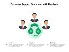 Customer Support Team Icon With Headsets Ppt PowerPoint Presentation Model Structure PDF