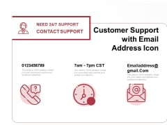 Customer Support With Email Address Icon Ppt PowerPoint Presentation File Background PDF