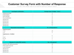 Customer Survey Form With Number Of Response Ppt PowerPoint Presentation Gallery Objects PDF