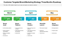 Customer Targeted Brand Marketing Strategy Three Months Roadmap Icons