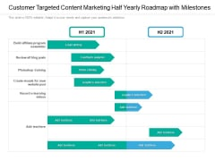 Customer Targeted Content Marketing Half Yearly Roadmap With Milestones Summary