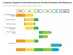 Customer Targeted Content Marketing Six Months Roadmap With Milestones Professional