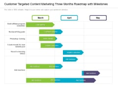 Customer Targeted Content Marketing Three Months Roadmap With Milestones Graphics