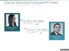 Customer Testimonials For Business Ppt PowerPoint Presentation Tips