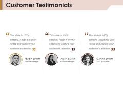 Customer Testimonials Ppt Powerpoint Presentation Inspiration Shapes