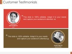 Customer Testimonials Ppt PowerPoint Presentation Summary Background Images