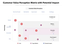 Customer Value Perception Matrix With Potential Impact Ppt PowerPoint Presentation Pictures Ideas PDF