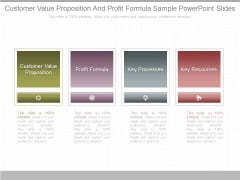 Customer Value Proposition And Profit Formula Sample Powerpoint Slides