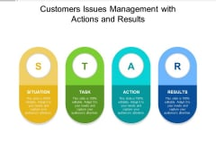 Customers Issues Management With Actions And Results Ppt PowerPoint Presentation Pictures Example Topics PDF