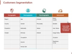Customers Segmentation Ppt PowerPoint Presentation Layouts Example