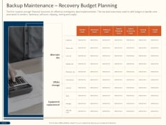 Cyber Security For Your Organization Backup Maintenance Recovery Budget Planning Ppt Inspiration Slide Portrait PDF