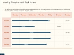 Cyber Security For Your Organization Weekly Timeline With Task Name Ppt Outline Ideas PDF