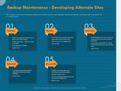 Cyber Security Implementation Framework Backup Maintenance Developing Alternate Sites Ppt PowerPoint Presentation Model Images PDF