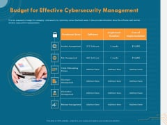 Cyber Security Implementation Framework Budget For Effective Cybersecurity Management Ppt PowerPoint Presentation Layouts Vector PDF