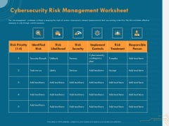Cyber Security Implementation Framework Cybersecurity Risk Management Worksheet Ppt Ideas Format PDF