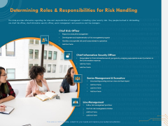 Cyber Security Implementation Framework Determining Roles And Responsibilities For Risk Handling Icons PDF