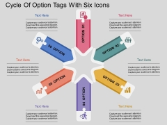 Cycle Of Option Tags With Six Icons Powerpoint Template
