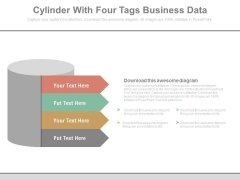 Cylinder With Four Corporate Marketing Steps Powerpoint Template