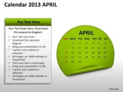 Calendar 2013 April PowerPoint Slides Ppt Templates