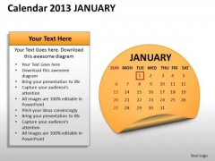 Calendar 2013 January PowerPoint Slides Ppt Templates