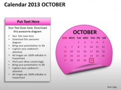 Calendar 2013 October PowerPoint Slides Ppt Templates