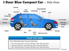 Car Drive 2 Door Blue Car Side PowerPoint Slides And Ppt Diagram Templates
