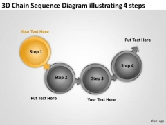Chain Sequence Diagram Illustrating 4 Steps Business Plan Writing Software PowerPoint Slides