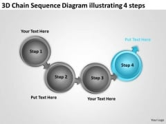 Chain Sequence Diagram Illustrating 4 Steps Ppt Writing Your Business Plan PowerPoint Templates