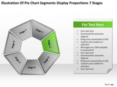 Chart Segments Display Proportions 7 Stages Business Development Plans PowerPoint Templates