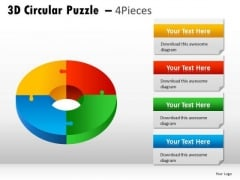 Chromatic 3d Circular Puzzle 4 Pieces PowerPoint Slides And Ppt Diagram Templates