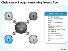 Circle Arrow 4 Stages Converging Process Flow Ppt Circular Layout PowerPoint Slides