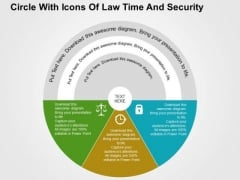 Circle With Icons Of Law Time And Security PowerPoint Templates