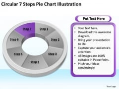 Circular 7 Steps Pie Chart Illustration Business Plan Sample PowerPoint Templates