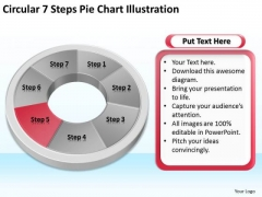 Circular 7 Steps Pie Chart Illustration Outline For Business Plan PowerPoint Templates