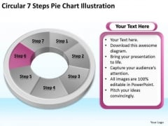 Circular 7 Steps Pie Chart Illustration Real Estate Business Plan PowerPoint Slides