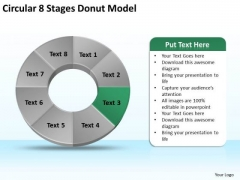 Circular 8 Stages Donut Model Business Plan PowerPoint Slides