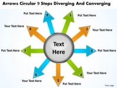 Circular 9 Steps Diverging And Converging Flow Network PowerPoint Slides