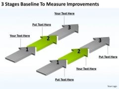 Circular Arrow In PowerPoint 3 Stages Baseline To Measure Improvements Templates