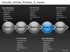 Circular Arrow Process 5 Issues Ppt Visio Office PowerPoint Templates