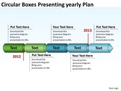 Circular Boxes Presenting Yearly Plan PowerPoint Templates Ppt Slides Graphics