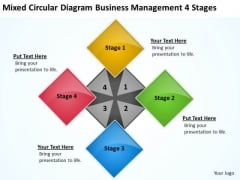 Circular Diagram Business Management 4 Stages Example Of Plan PowerPoint Templates