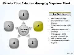 Circular Flow 5 Arrows Diverging Sequence Chart Charts And Networks PowerPoint Slides