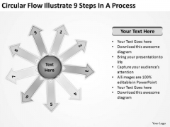 Circular Flow Illustrate 9 Steps In Process Arrow Chart PowerPoint Slides