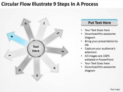 Circular Flow Illustrate 9 Steps In Process Ppt Motion PowerPoint Slides