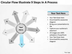 Circular Flow Illustrate 9 Steps In Process Radial PowerPoint Templates