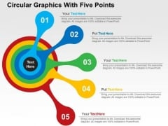 Circular Graphics With Five Points PowerPoint Templates
