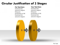 Circular Justification Of 2 Stages Flow Chart System PowerPoint Slides
