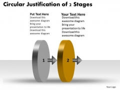 Circular Justification Of 2 Stages Ppt Production Process Flow Chart PowerPoint Templates